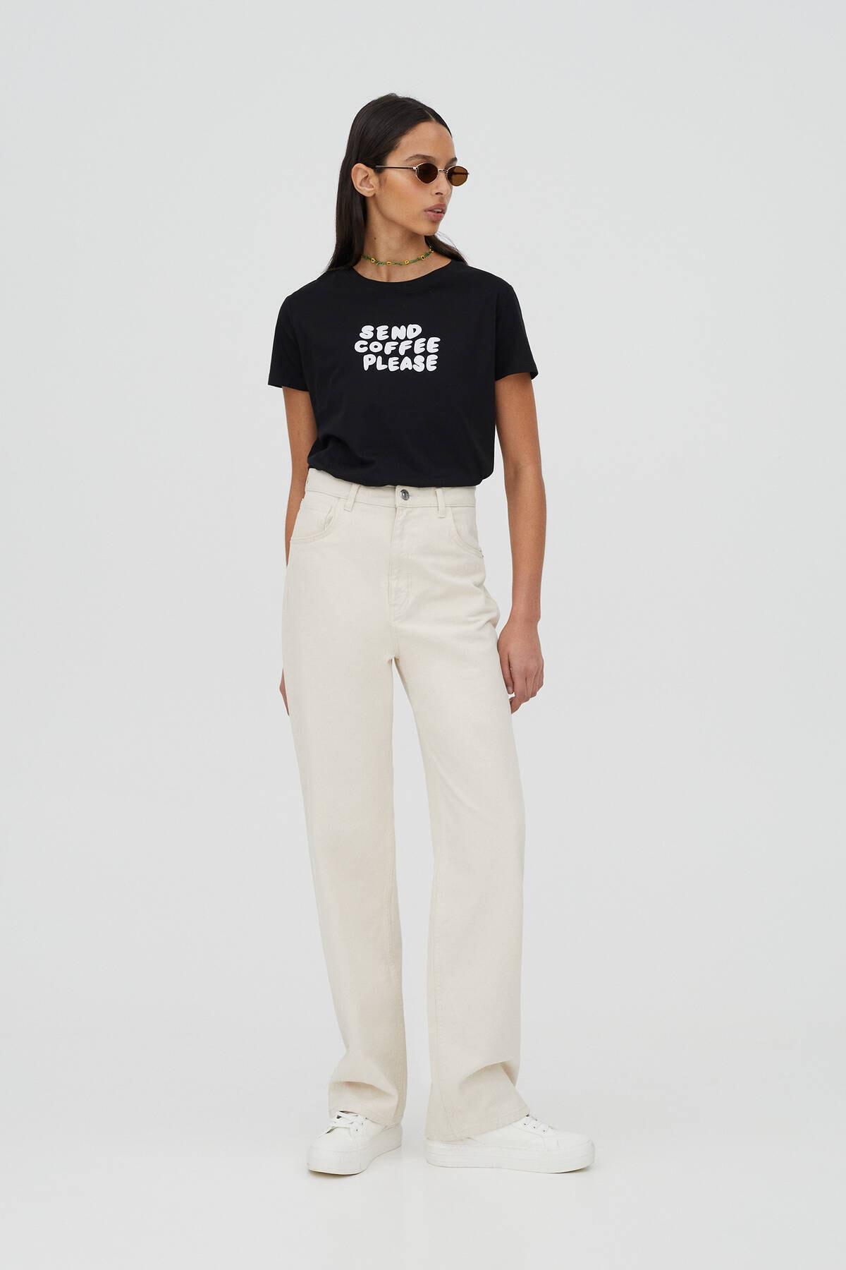 Pull & Bear Kadın Kontrast Sloganlı Siyah T-Shirt - %100 Organik Pamuklu 04240310 1