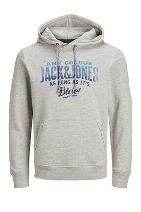 Jack & Jones JJ30JACK PRINT SWEAT HOOD Gri Erkek Sweatshirt 101057584 0