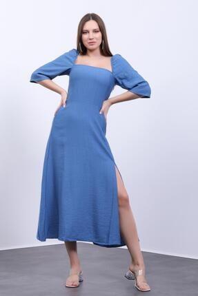 Kadın Mavi Yırtmaçlı Keten Elbise 19636524