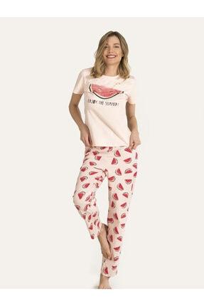 Nbb Kadın Somon Karpuzlu Pijama Takımı 67149 2