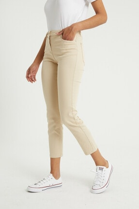 BOSHETTI Krem Yüksek Bel Mom Comfort Slim Fit Jeans 3