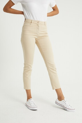 BOSHETTI Krem Yüksek Bel Mom Comfort Slim Fit Jeans 4
