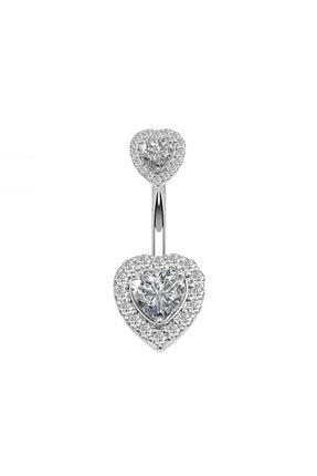 Chavin Çift Kalp Taşlı Komple Taşlı Göbek Piercing Eg58by 0