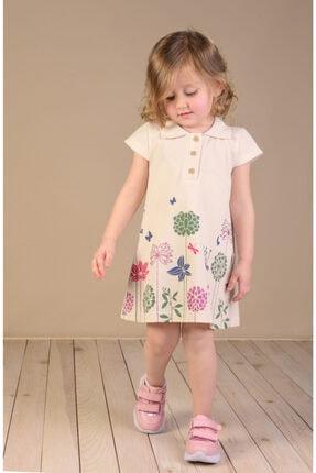 Çiçek Baskılı Gömlek Yaka Lacoste Kumaş Çocuk Elbisesi LS5274