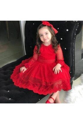 Riccotarz Kız Çocuk Prenses Güpürlü Kırmızı Elbise 1