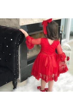 Riccotarz Kız Çocuk Prenses Güpürlü Kırmızı Elbise 2