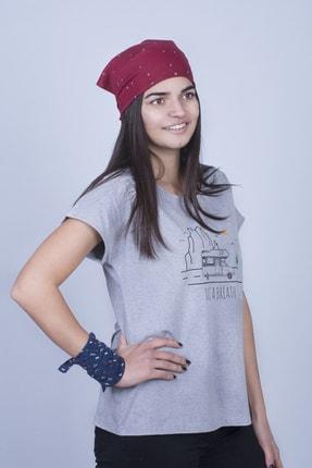 Mount Bug Gri Kadın Karavan Baskılı Kısa Kollu Regular Fit T-shirt 2