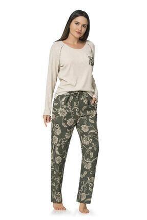 1045 Desenli Penye Kadın Pijama Takımı resmi