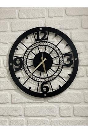 DFA DEKORATİF Dekoratif Metal Duvar Saati Siyah Büyük Boy 48 X 48 Cm 0
