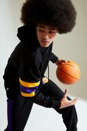 Defacto Erkek Siyah Nba Lisanslı Oversize Fit Kapüşonlu Sweatshirt 4