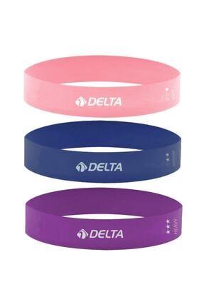 Delta 3'lü Aerobik Bandı Lateks Bant Seti Pilates Yoga Lastiği Seti 0