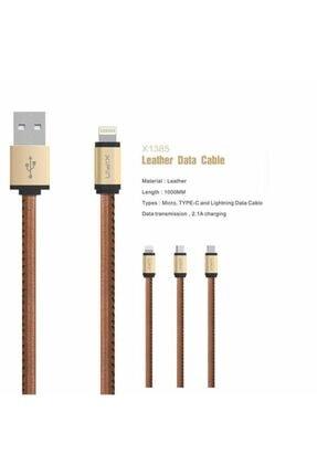 Xipin Lx1385 Cable Type-c Şarj Ve Data Kablosu Deri 1m. 2.1a Gold 2