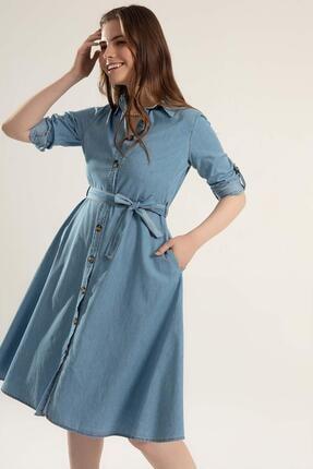 Y-London Kadın Kuşaklı Uzun Kollu Kot Gömlek Elbise Y20s110-1924 1