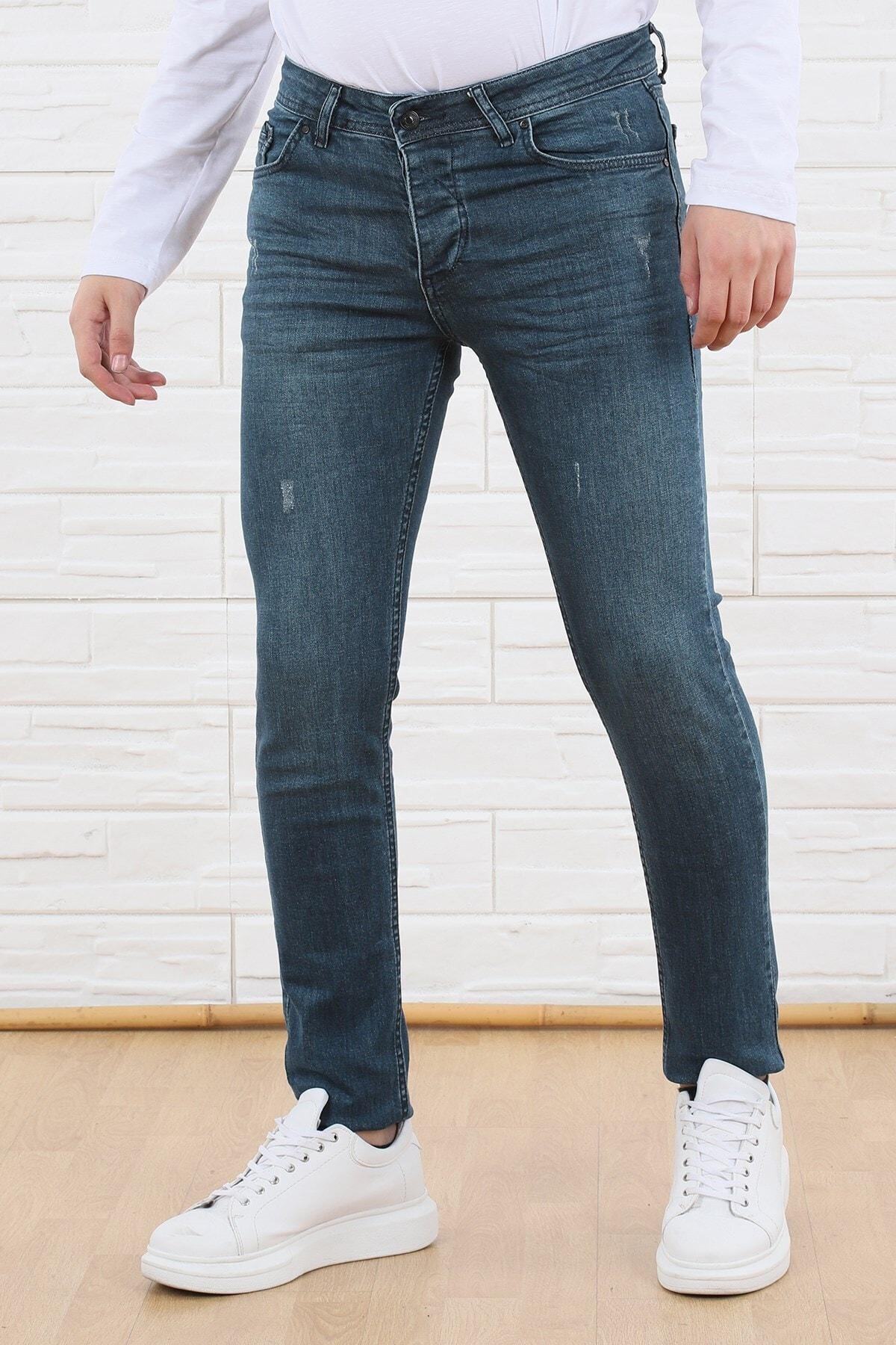 Erkek Lazer Kesim Likralı Slim Fit Dar Paça Lacivert Yıkamalı Jean Pantolon