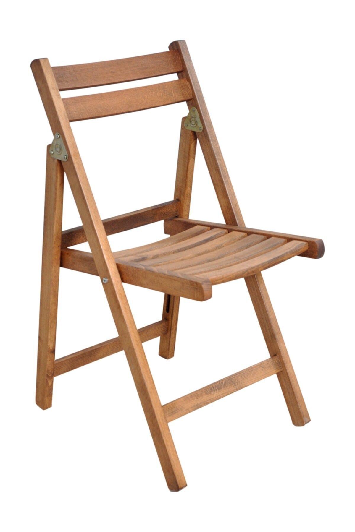 Katlanır Ceviz Renk Bahçe Balkon Sandalyesi