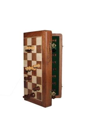 Gezginimport Satranç Oyunu Mıknatıs Taşlı Ahşap Katlanabilir Kutulu Satranç Oyunu 25 Cm 2