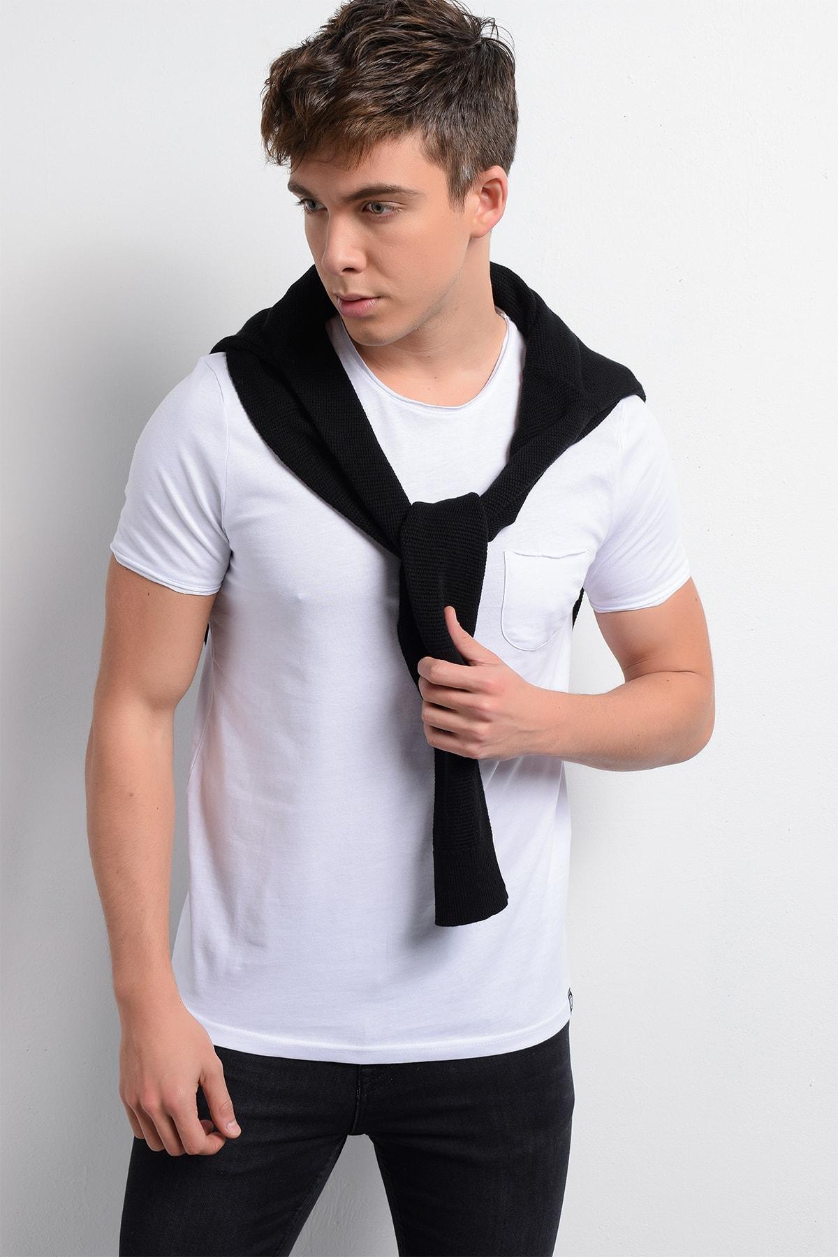 Rodi Rd19ye279978 Beyaz Erkek Fırçalı Süprem Cepli Bis. Yaka T-shirt