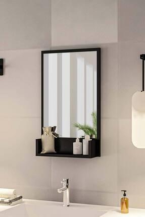 bluecape Siyah Raflı Antre Hol Koridor Duvar Salon Mutfak Yatak Odası Aynası  75cm 0