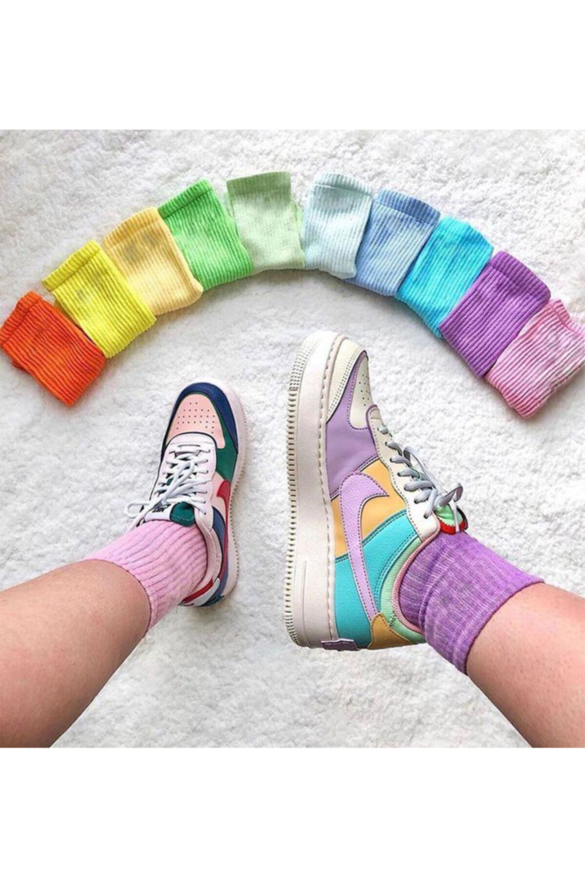 Unisex Çok Renkli Kolej Çorap Düz 10 Çift