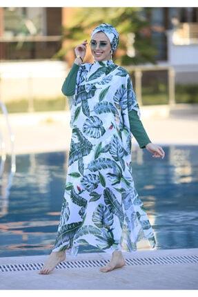 Remsa Mayo Tesettür Mayo Üzerine Desenli Kaftan Tek Pareo Yeşil Yapraklar 1
