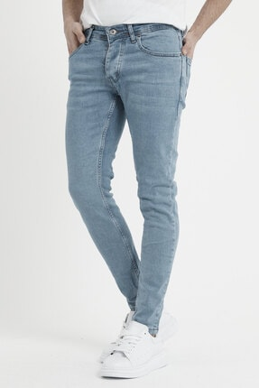 MODAMESTO Erkek Açık Mavi Slim Fit Likralı Dar Paça Kot Pantolon 2