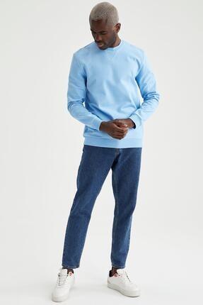 Defacto Erkek Turkuaz Regular Fit Bisiklet Yaka Basic Sweatshirt 1