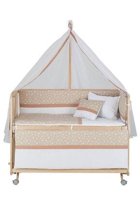 Babycom Anne Yanı Doğal Boyasız Ahşap Kademeli Beşik 70x130 - Tekerlekli + Kahve Yıldızlı Uyku Seti 4