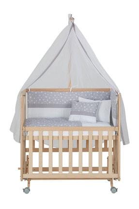 Babycom Anne Yanı Naturel Boyasız 50*90 Ahşap Beşik - Tekerlekli + Gri Yıldızlı Uyku Seti 3