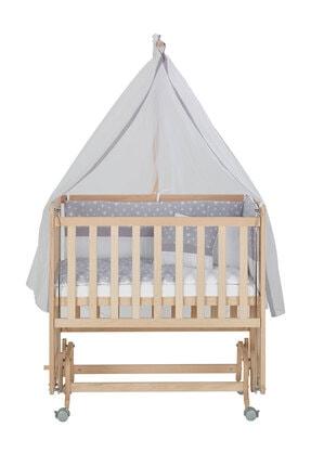 Babycom Anne Yanı Naturel Boyasız 50*90 Ahşap Beşik - Tekerlekli + Gri Yıldızlı Uyku Seti 4