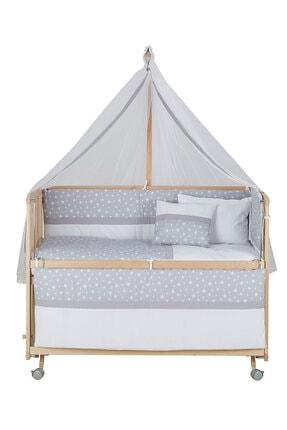 Babycom Doğal Ahşap Boyasız Anne Yanı Tekerlekli Beşik 60x120 4 Kademeli + Gri Yıldızlı Uyku Seti 1