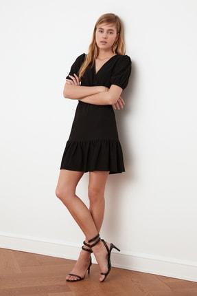 TRENDYOLMİLLA Siyah Asimetrik Yaka Örme Elbise TWOSS21EL0377 1