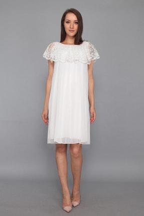 Piliseli Hamile Elbise Beyaz ML01100100X