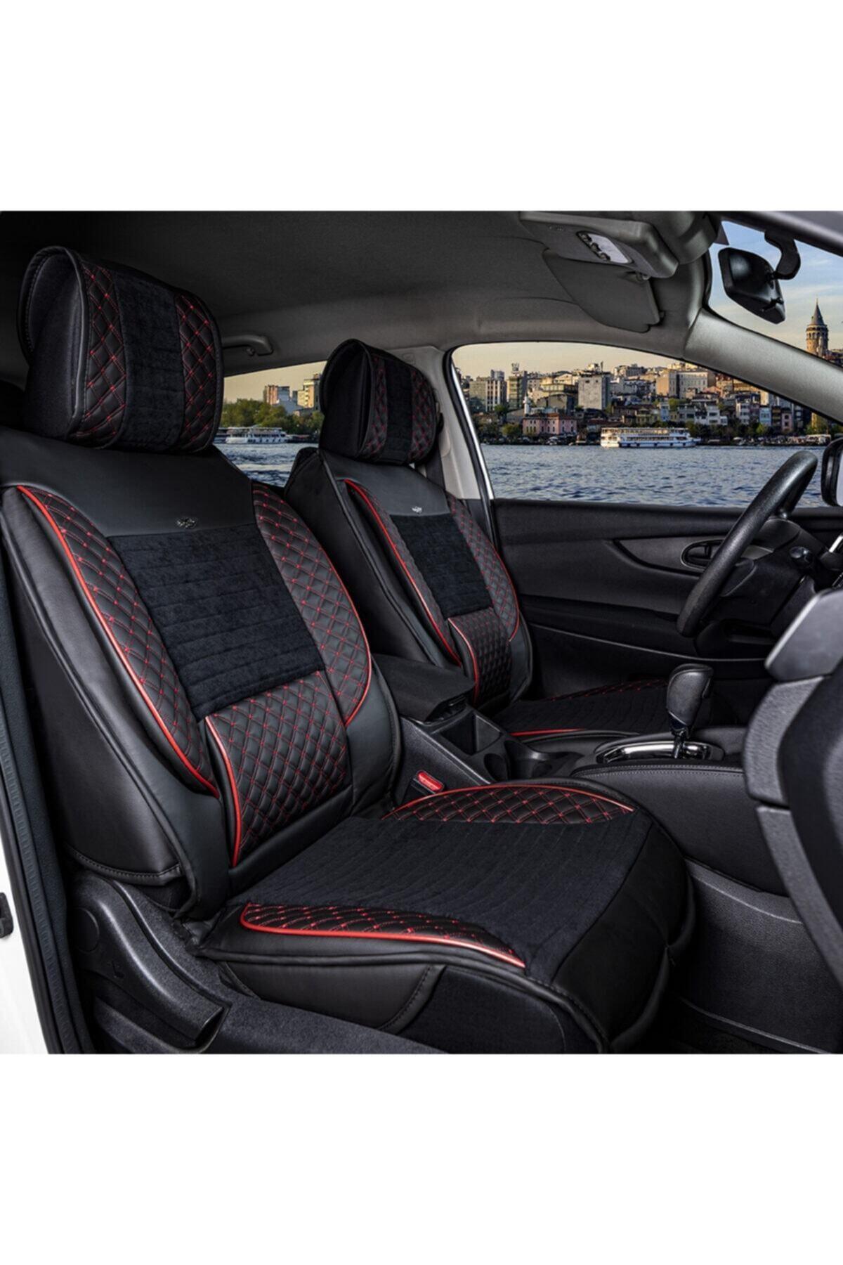 Ford Focus 2 Lüks Deri Oto Koltuk Kılıfı Ön/arka Set Siyah Kırmızı