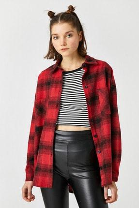 Koton Kadın Kırmızı Ekoseli Gömlek 1KAL68239IW 1
