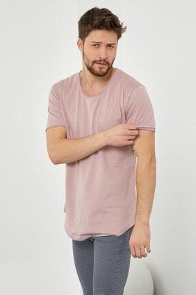 Tarz Cool Erkek Koyu Pudra Pis Yaka Salaş T-shirt-tcps001r58s 4