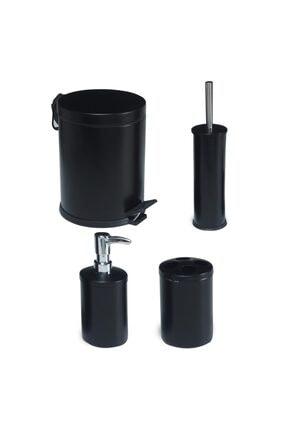 Foreca 4 Lü Çöp Kovası Banyo Seti Siyah 0