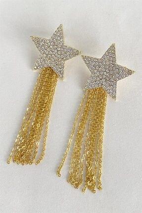 Takıştır Kadın Altın Rengi Yıldız Figürlü Zincir Detaylı Küpe 1