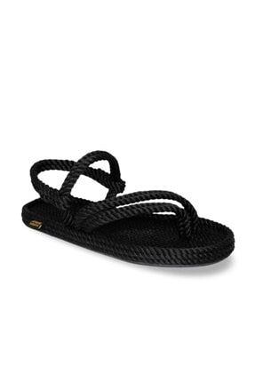 Nomadic Republic Cancun Kauçuk Tabanlı Kadın Halat Sandalet Siyah 1