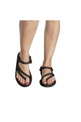 Nomadic Republic Cancun Kauçuk Tabanlı Kadın Halat Sandalet Siyah 4