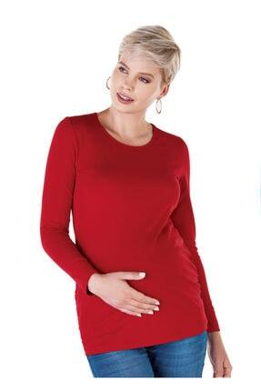 Ebru Maternity 4256 - Yuvarlak Yaka Kırmızı Hamile Tişörtü 0