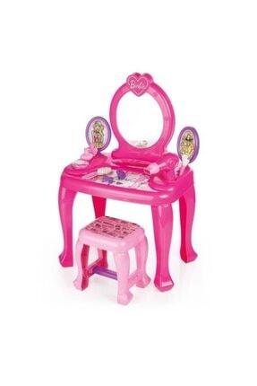 Dolu Barbie Ayaklı Makyaj Masası Ve Sandalye Seti 0