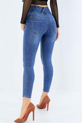 JANES Kadın Mavi Yüksel Bel Likralı Jean Pantolon 0