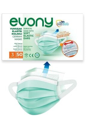 Evony 3 Katlı Filtreli Burun Telli Cerrahi Maske 50'li Paket -yumuşak Elastik Kulaklı 0
