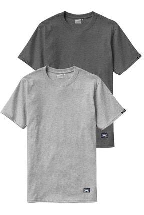Sivugin Açık Ve Koyu Gri Pamuklu Yuvarlak Yaka Kısa Kol Erkek Spor T-shirt - 2'li Paket 0