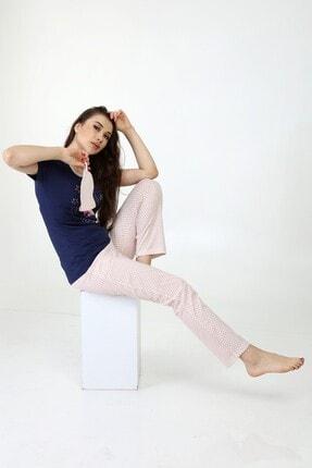 ModaPijama Manolya Kadın Lacivert Pamuklu Puantiyeli Kısa Kollu Pijama Takımı 3