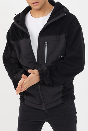 XHAN Siyah Polar Garnili Yağmurluk 1kxe4-44460-02 4