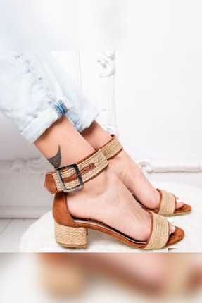 Limoya Kadın Taba Gerçek Hasır Alçak Topuklu Hasır Ökçeli Sandalet 4