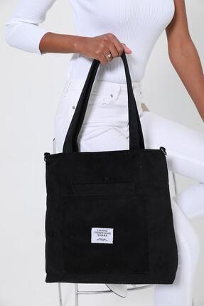 ModaAhsa Siyah Kadın Omuz Çantası Kumaş Astarlı 1