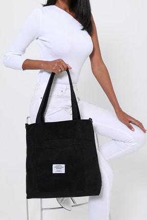 ModaAhsa Siyah Kadın Omuz Çantası Kumaş Astarlı 3