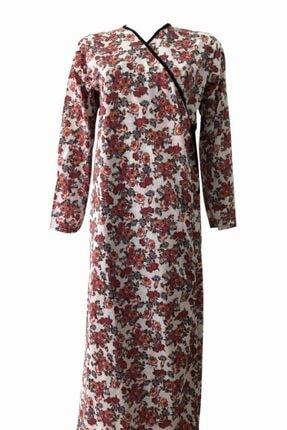 Hazal Namaz Elbisesi Kiremit Renkli Çiçek Desen Bağlamalı Model 0